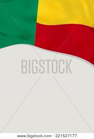 Leaflet design with flag of Benin. Vector template.