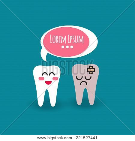 Tooth and healthy teeth. Cartoon illustration of teeth molars with bubble. Whitening treatment at dentist. Vector graphics