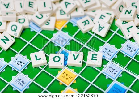 London, England, November 16, 2017 - Scrabble letters spelling the word love