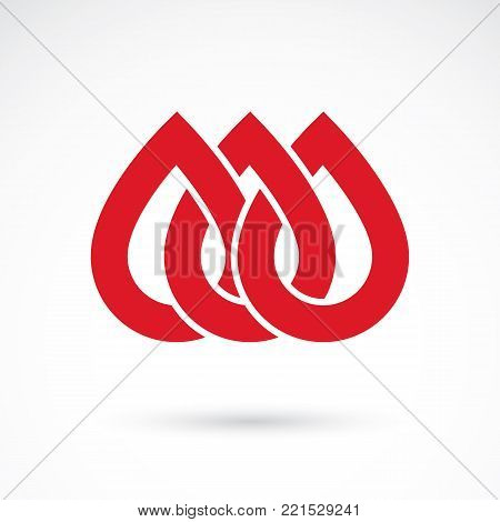 Vector red blood drop illustration isolated on white. Hematology theme, medical treatment design for use in medicine, rehabilitation or pharmacology.