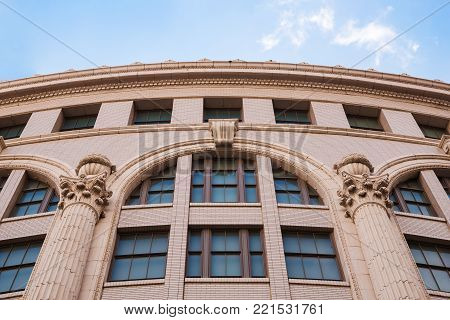 Beautiful Exterior Architecture With Clear Sky Of Ancient Classical Building In Osaka,japan.