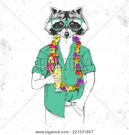 Retro Hipster animal raccoon with tropic cocktail