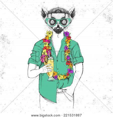 Retro Hipster animal lemur with tropic cocktail