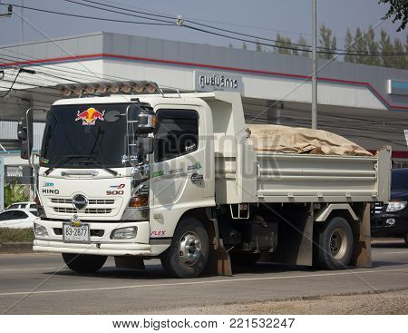 CHIANG MAI, THAILAND -JANUARY 7 2018:  Private Hino Dump Truck. On road no.1001 8 km from Chiangmai Business Area.