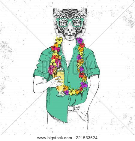 Retro Hipster animal tiger with tropic cocktail