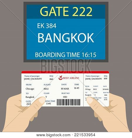Boarding pass in hand and a display near gate on board the aircraft, vector