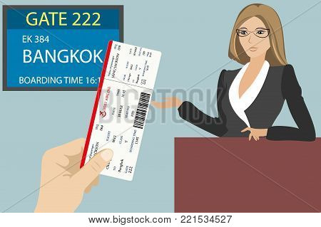 Boarding pass in hand, display near gate to board the aircraft and airport stuff, vector