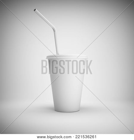 White paper cup with drinking straw on white background. 3D illustration.