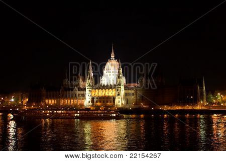 Hungarian House of Parliament in Budapest at night