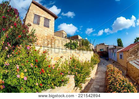 Cobbled Street In Small Village Of Tochni. Larnaca District, Cyprus.