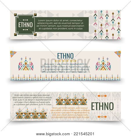 Ethno banners template - banners with boho ornaments design. Vector illustration