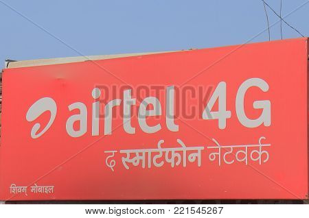Varanasi India - October 31, 2017: Airtel Indian Mobile Phone Company. Airtel Is The Second Largest