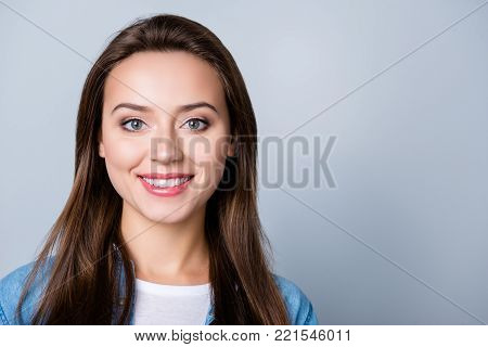 Closeup Portrait Of Beautiful Attractive Charming Cute With Beaming Smile Cheerful Girl With Pure Sk