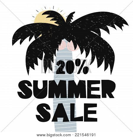 Advert card with lettering 20 summer sale wit palm and sun in scandinavian style. Vector illustration. Can be used as coupon, advert, bulletin, poster, banner, brochure, flyer