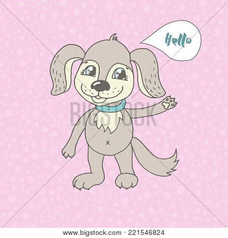 Cute dog says Hello. Vector funny illustration for your design, postcard, textiles. Cartoon style. Beautiful seamless romantic pattern with hearts, peas and flowers