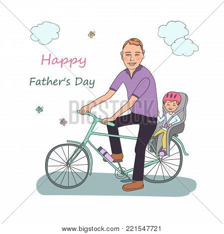 Dad with the baby go by bicycle. Cute illustration on a white background for Happy Father's Day celebration.