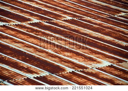 Pattern of Rusted galvanized iron plate , Old rusty zinc plate roof