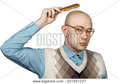 ald-headed man - nerd with glasses in white background comb out a bald head