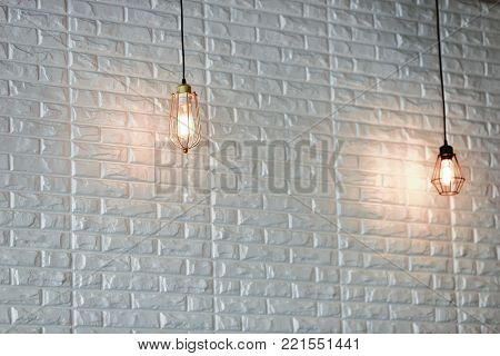Decoration antique edison led light style filament light bulbs , turn on the light with white background and copyspace ,color vintage style,Thailand
