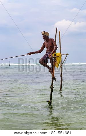 WELIGAMA, SRI LANKA - CIRCA DECEMBER 2013: Unidentified local fisherman is fishing in unique style. This type of fishing is traditional for Sri Lanka in Indian ocean.