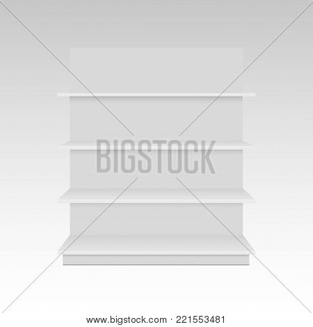 Blank empty 3D showcase display with retail shelves. Mock up template ready for your design. Front view