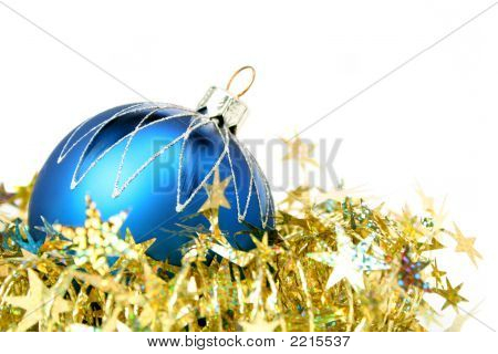 Christmas Sphere Of Dark Blue Color And Tinsel