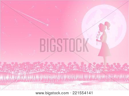 A loving woman holding a rose standing in a pink rose garden. Moonlight of love splashes and meteors send love to her. Love on Valentine`s Day. Background illustrator.