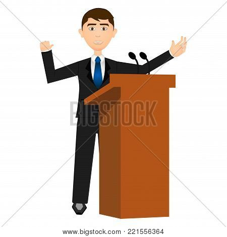 Businessman in a lectern on white background, Vector illustration