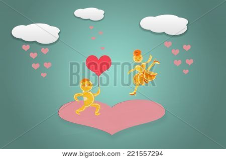 Creative valentines concept photo. Red heart symbol of love or dating. St. Valentine`s Day.