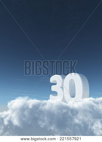 number thirty on clouds - 3d rendering