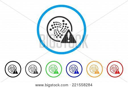 Iota Error rounded icon. Style is a flat gray symbol inside light blue circle with additional color variants. Iota Error vector designed for web and software interfaces.