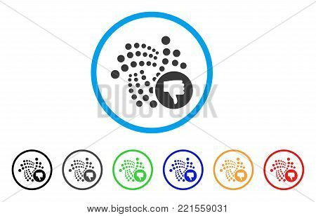 Iota Thumb Down rounded icon. Style is a flat grey symbol inside light blue circle with bonus colored variants. Iota Thumb Down vector designed for web and software interfaces.
