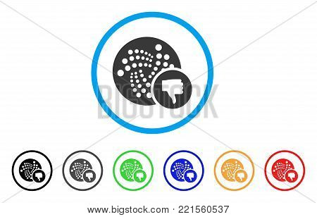 Iota Thumb Down rounded icon. Style is a flat grey symbol inside light blue circle with additional color variants. Iota Thumb Down vector designed for web and software interfaces.