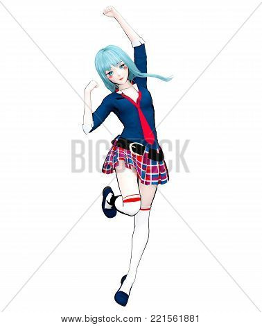 3D sexy anime doll japanese anime schoolgirl big blue eyes and bright makeup. Skirt cage. Cartoon, comics, sketch, drawing, manga illustration. Conceptual fashion art. Seductive candid pose.