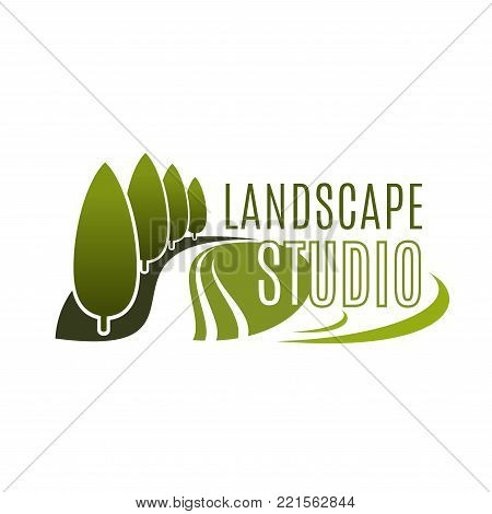 Landscape design studio icon of green trees or forest park for horticulture and landscaping service company. Vector template of green parkland or woodlands for eco design and build association