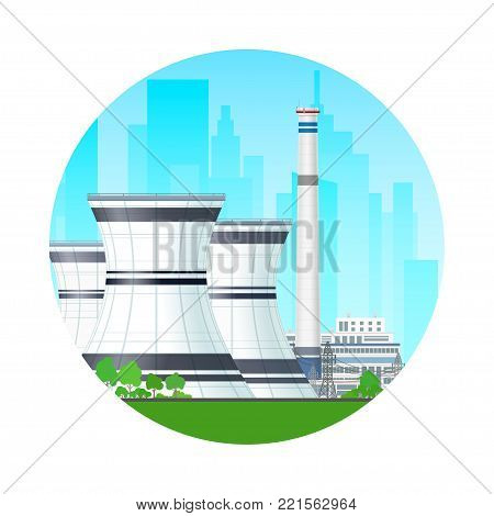 Icon Nuclear Power Plant on the Background of the City, Thermal Station and Power Lines, Nuclear Reactor Supplies Electricity to the City,  Illustration