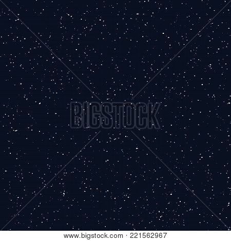 Starry sky seamless pattern, dots in galaxy and stars style endless background. Galaxy background of starry night sky, space repeat seamless on deep blue color