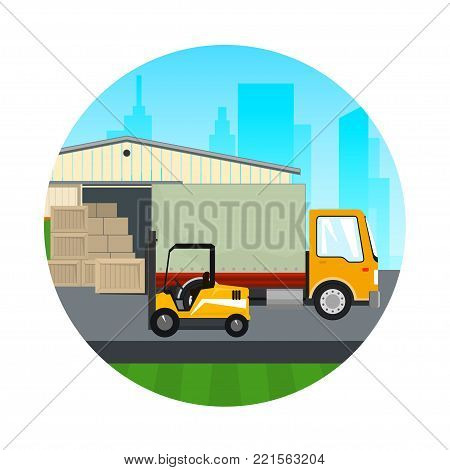Warehouse and Transport Services ,Icon Warehouse with Forklift Truck and Lorry on the Background of the City , Unloading or Loading of Goods ,  Illustration
