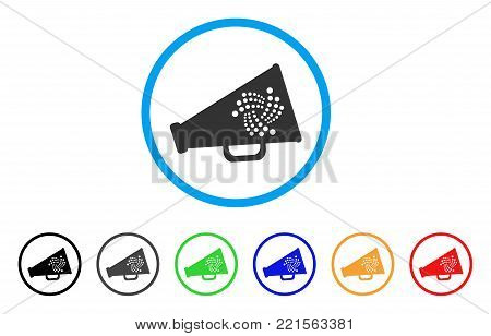 Iota Megaphone rounded icon. Style is a flat grey symbol inside light blue circle with additional color variants. Iota Megaphone vector designed for web and software interfaces.