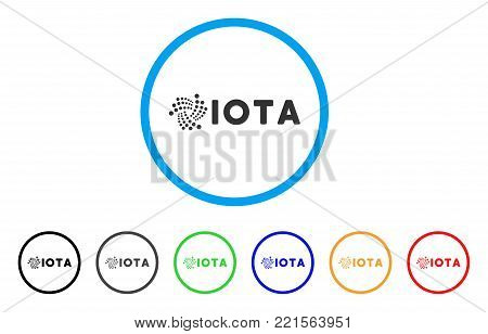 Iota Ticker rounded icon. Style is a flat gray symbol inside light blue circle with bonus color variants. Iota Ticker vector designed for web and software interfaces. poster