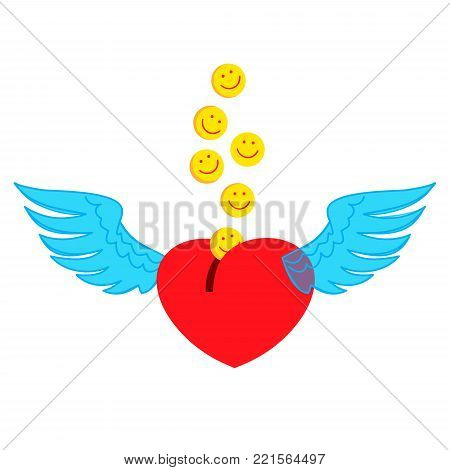 Heart piggy Bank with wings. Falling in piggy Bank happy love emoticons. Original vector illustration for Valentine's day.