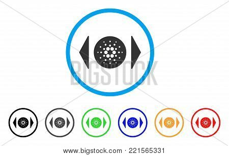 Regulate Cardano rounded icon. Style is a flat gray symbol inside light blue circle with additional colored versions. Regulate Cardano vector designed for web and software interfaces.