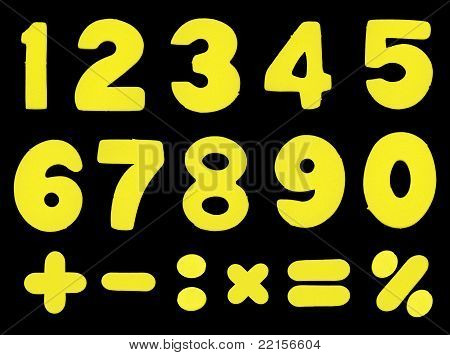 Numbers and mathematic operations simbols