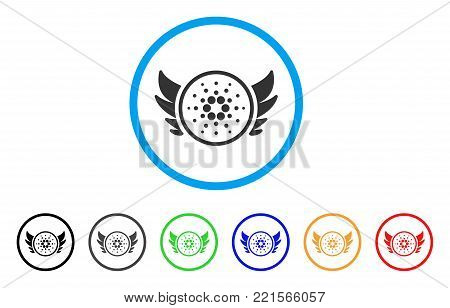 Cardano Angel Investment rounded icon. Style is a flat grey symbol inside light blue circle with bonus color variants. Cardano Angel Investment vector designed for web and software interfaces.