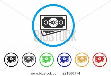 Cardano Banknotes rounded icon. Style is a flat gray symbol inside light blue circle with additional color versions. Cardano Banknotes vector designed for web and software interfaces.