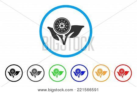 Cardano Coin Eco Startup rounded icon. Style is a flat gray symbol inside light blue circle with bonus colored variants. Cardano Coin Eco Startup vector designed for web and software interfaces.