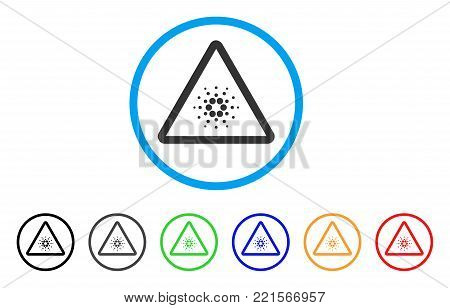 Cardano Danger rounded icon. Style is a flat gray symbol inside light blue circle with additional colored variants. Cardano Danger vector designed for web and software interfaces.