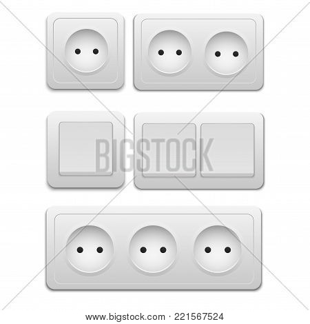 Vector modern power socket and light switch icon on background. electric outlet