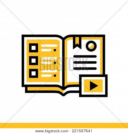 Outline icon Audio books. Online education, e-learning. Suitable for print, website and presentation