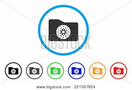 Cardano Purse rounded icon. Style is a flat gray symbol inside light blue circle with additional color versions. Cardano Purse vector designed for web and software interfaces.